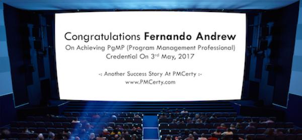 Congratulations Fernando on Achieving PgMP..!