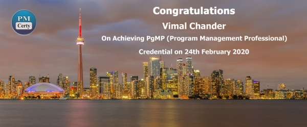 Congratulations Vimal on Achieving PgMP..!