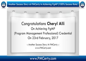 Congratulations Cheryl on Achieving PgMP..!