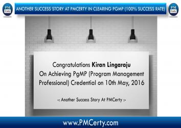 Congratulations Kiran on Achieving PgMP...!