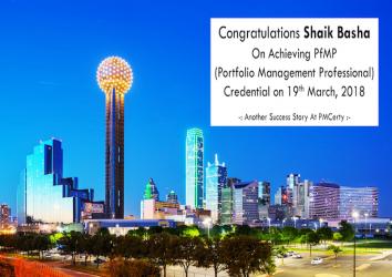 Congratulations Shaik Basha on Achieving PfMP..!