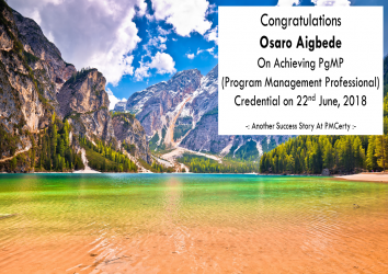 Congratulations Osaro on Achieving PgMP..!