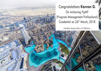 Congratulations Kannan G. on Achieving PgMP..!